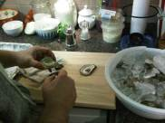 Shucking at home.