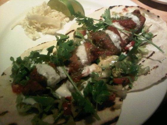 ... mean fish taco and fish tacos rule the fish is crisp juicy and has got